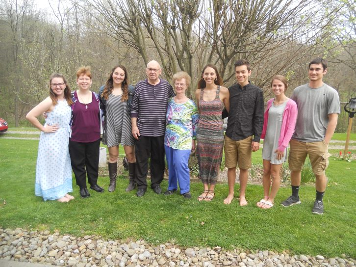 MY FAMILY WITH A FEW FRIENDS AND THE DOG ON EASTER 2017.