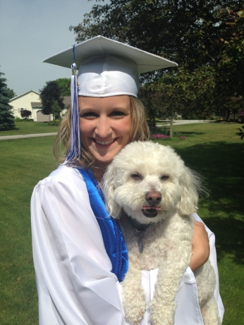 MY NIECE KAITLIN WITH HER PET DOG, MAX.