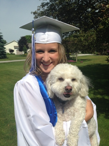 MY NIECE WITH HER PET DOG, MAX.