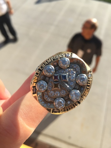 HEAD ON VIEW OF OF THE STEELER CHAMPIONSHIP RING.