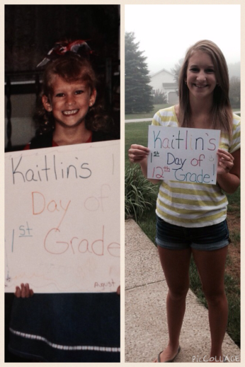 A COLLAGE OF KAITLIN ON HER FIRST DAY OF FIRST GRADE AND HER FIRST DAY OF TWELFTH GRADE.