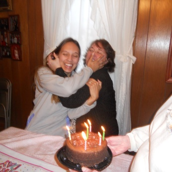 ON THE LEFT IS EMILY AND ON THE RIGHT IS HER MOTHER. WE'RE CELEBRATING THEIR BIRTHDAYS TOGETHER SINCE THEIR BIRTHDAYS ARE A DAY APART.