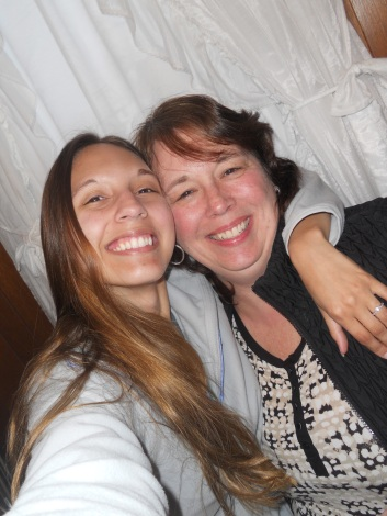 EMILY ON THE LEFT WITH HER MOTHER CELEBRATING THEIR BIRTHDAYS.