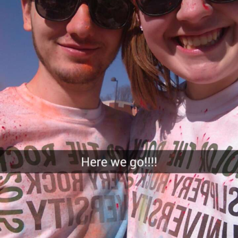 ALLISON WITH HER BOYFRIEND, ZACH RUNNING IN SLIPPERY ROCK UNIVERSITY'S COLOR RUN.
