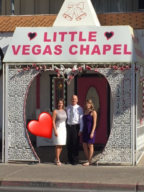 ANDREA, BOB AND KAITLIN AT THE LITTLE VEGAS CHAPEL. LOVE IS IN THE AIR.