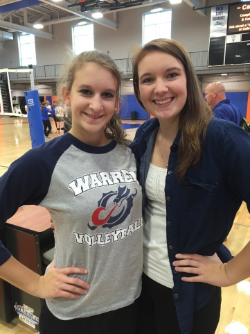 ALLISON CAME TO HER SISTER KAITLIN'S VOLLEYBALL GAME.