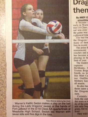 A WRITE UP ABOUT KAITLIN AND HER VOLLEYBALL.