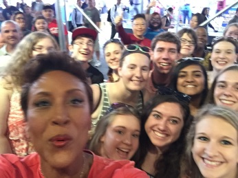 ROBIN ROBERTS IN THE LEFT HAND CORNER AND KAITLIN IN THE RIGHT HAND CORNER.
